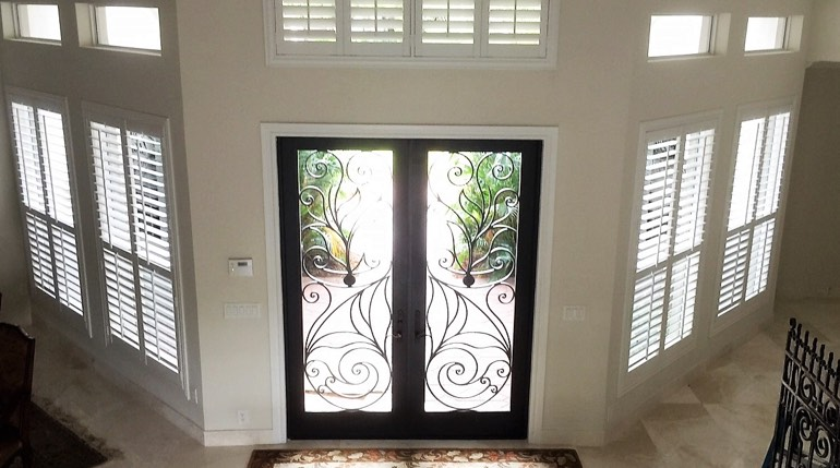 Fort Lauderdale entryway plantation shutters