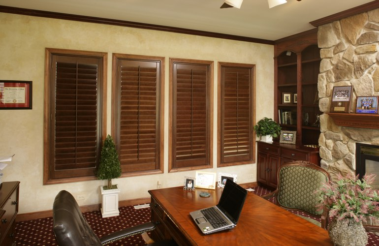 Hardwood plantation shutters in a Fort Lauderdale home office