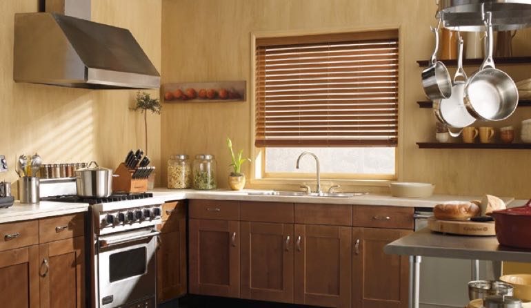 Fort Lauderdale kitchen faux wood blinds.