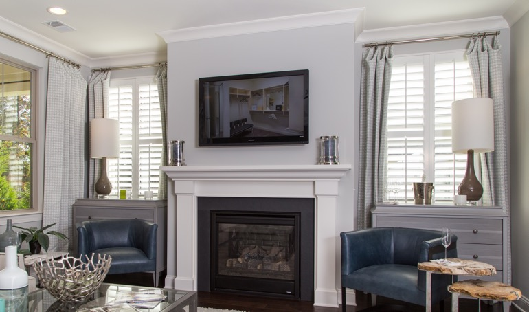Fort Lauderdale mantle with plantation shutters.