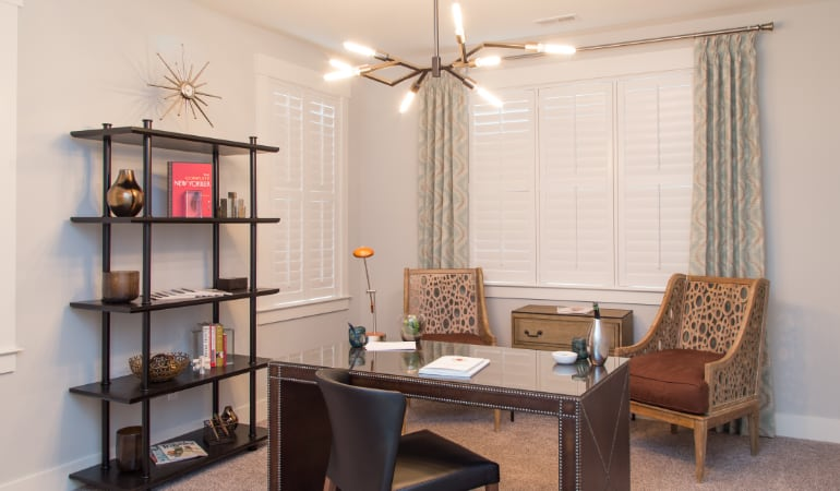 Fort Lauderdale home office with plantation shutters.