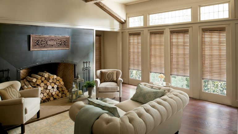 Fort Lauderdale fireplace with blinds