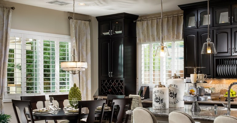 Fort Lauderdale kitchen dining room with plantation shutters.