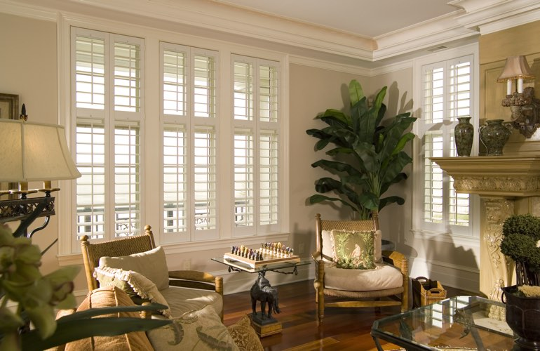 Living Room in Fort Lauderdale with polywood plantation shutters.