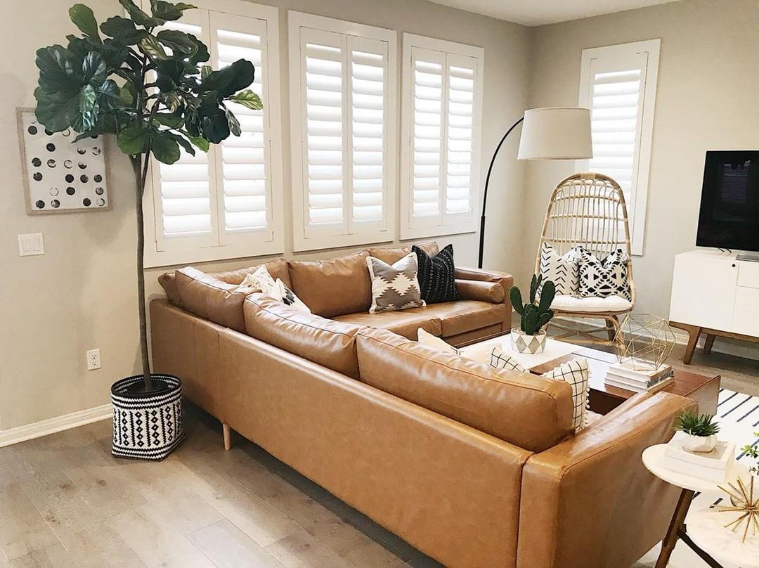 Cozy living room with Polywood shutters in Fort Lauderdale.