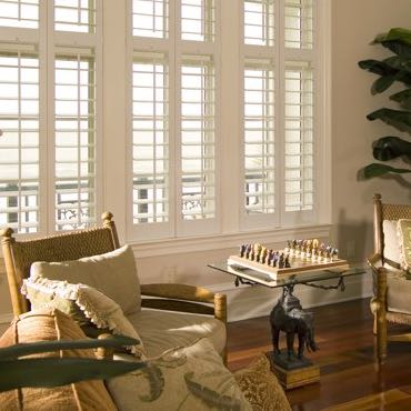 Fort Lauderdale living room interior shutters.