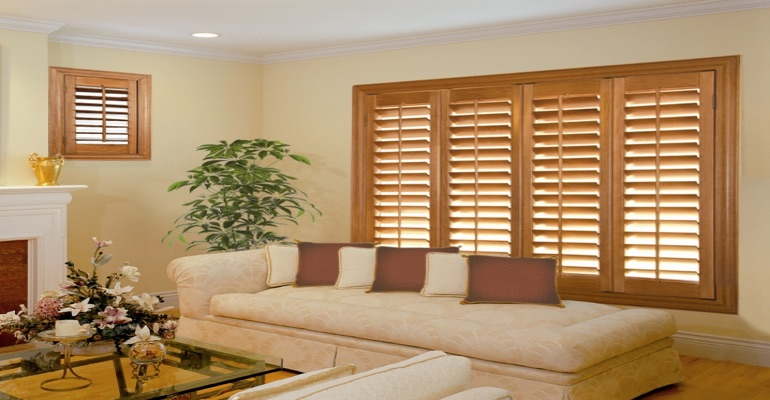 wood shutters Fort Lauderdale living room