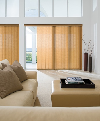 Panel track blinds in airy living room