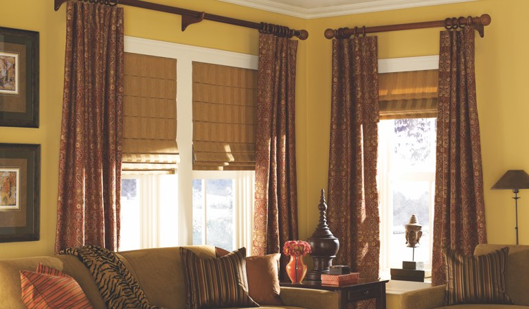 Roman Shades in a Living Room