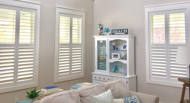 faux wood shutters in Fort Lauderdale sunroom