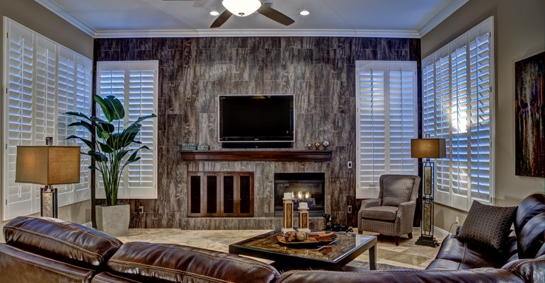 Fort Lauderdale living room with shutters