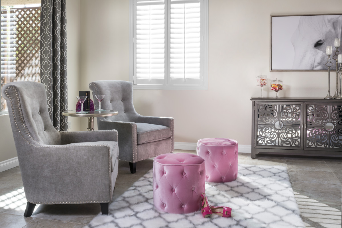 Fort Lauderdale pink living room with shutters