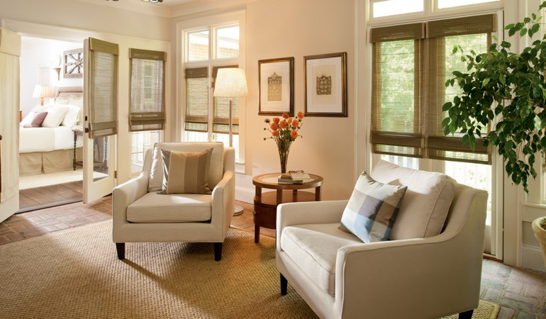 Neutral toned living room with shades