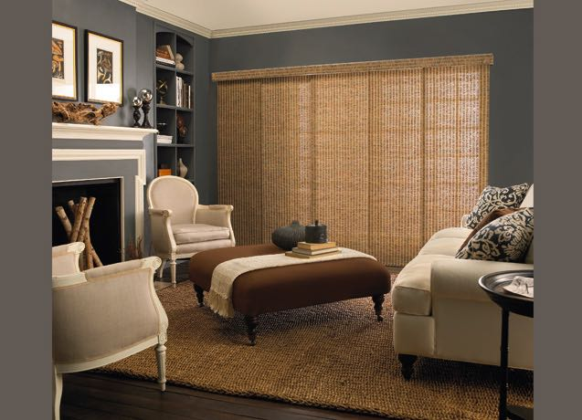 Fort Lauderdale Study with navy walls and beige sliding panel tracks.