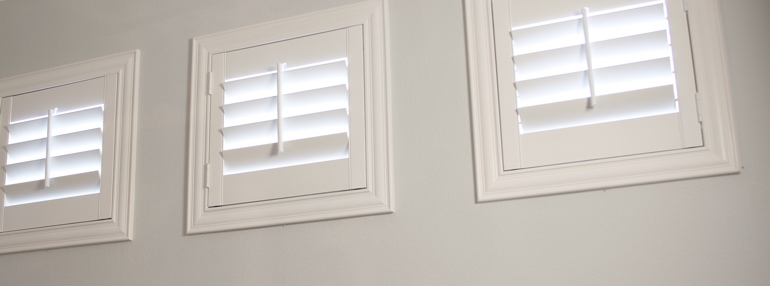 Square Windows in a Fort Lauderdale Garage with Plantation Shutters