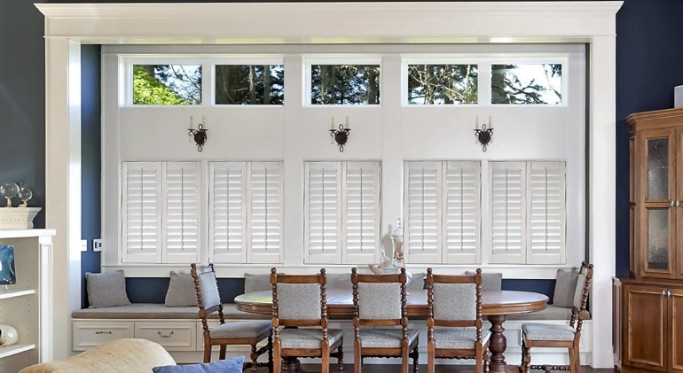 Fort Lauderdale great room with Studio plantation shutters.