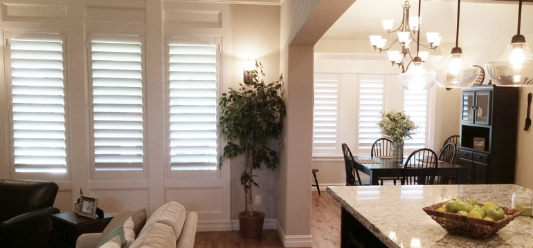 Fort Lauderdale shutters in kitchen and family room