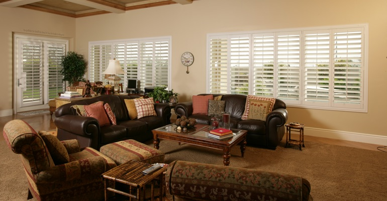 Fort Lauderdale great room with custom shutters.