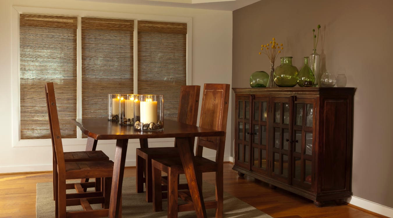 Woven shutters in a Fort Lauderdale dining room.