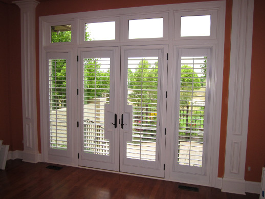 Fort Lauderdale patio door with sidelight shutters