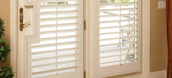 White french door with shutters