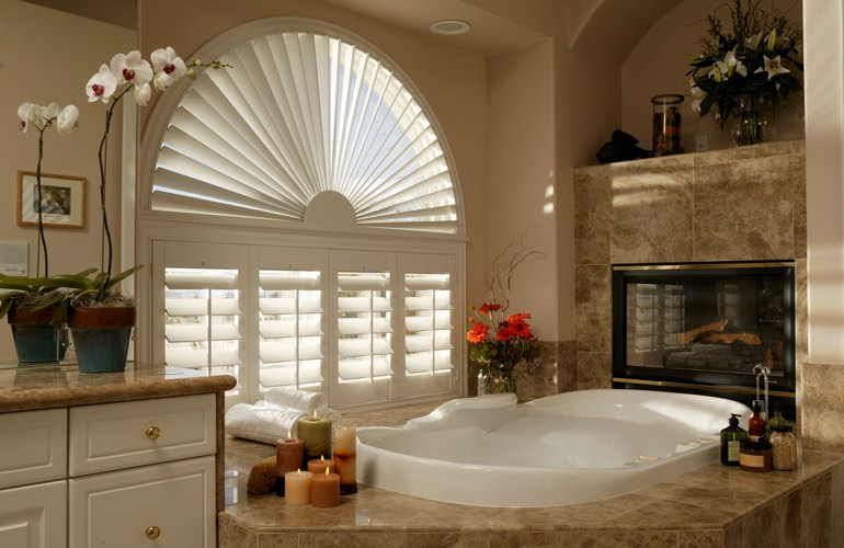 Our Team Installed Shutters On A Sunburst Arch Window In Fort Lauderdale, FL