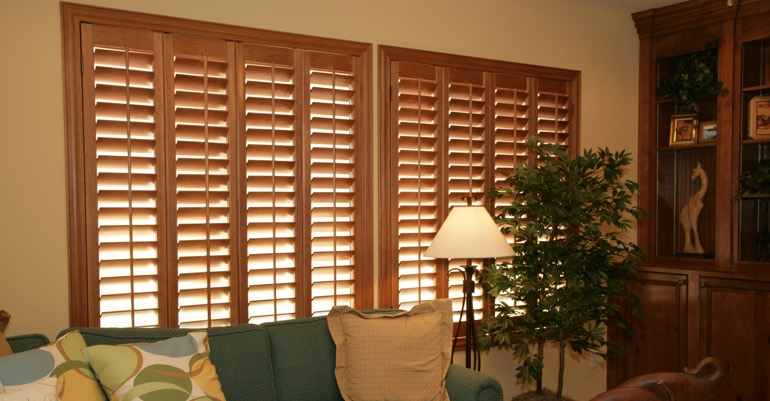 Hardwood shutters in Fort Lauderdale living room.