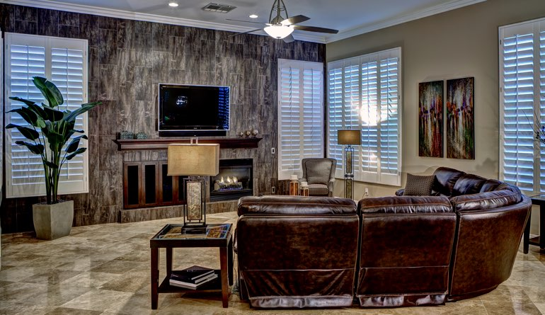 Plantation Shutters In A Fort Lauderdale Living Room.