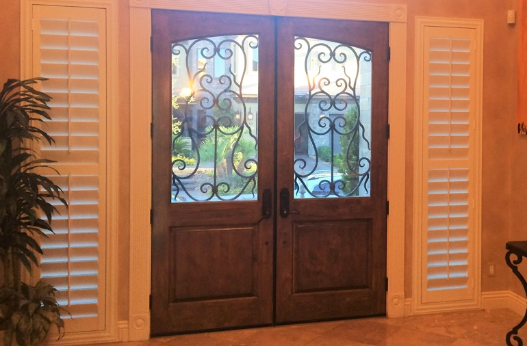 Sidelight window shutters in Fort Lauderdale home